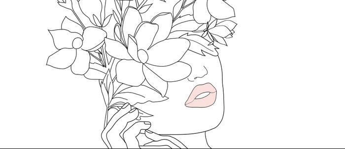Minimal Line Art Woman with Magnolia Kaffeebecher
