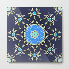 Golden and blue pattern Metal Print