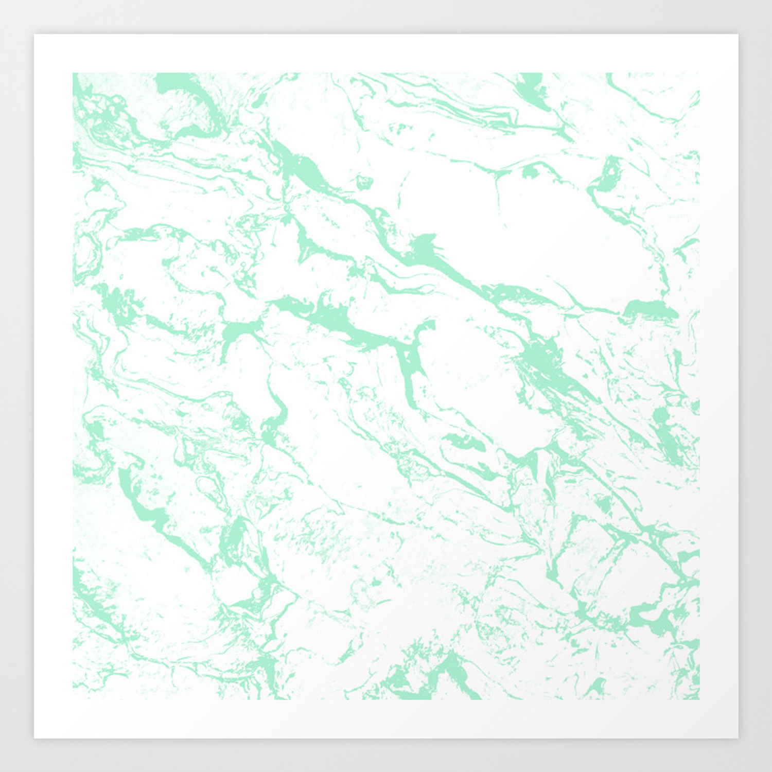 Trendy Modern Pastel Mint Green White Marble Pattern By Girly Trend Art Print By Girlytrend Society6