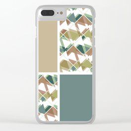 Grey-beige combo Clear iPhone Case