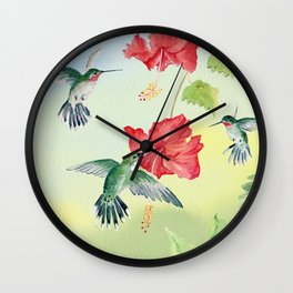 Colorful Hummingbirds and Hibiscus  Wall Clock