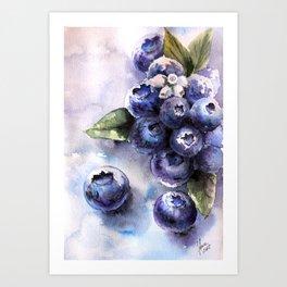Watercolor Blueberries - Food Art Art Print