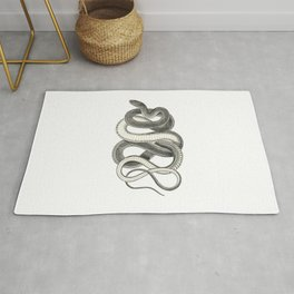 snake vintage style print serpent black and white 1800's Rug
