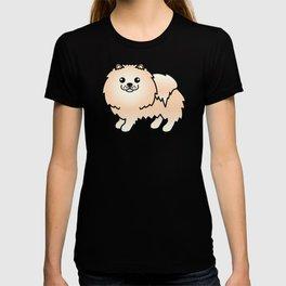 Cream Pomeranian Dog Cute Cartoon Illustration T-shirt