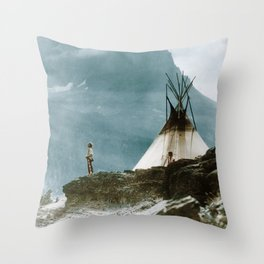 Echoes Call - American Indian Camp Throw Pillow