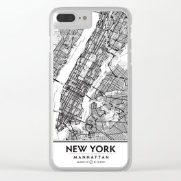 New York City Showing Manhattan, Brooklyn and New Jersey Clear iPhone Case
