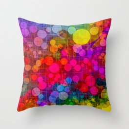 Rainbow Bubbles Abstract Design Throw Pillow