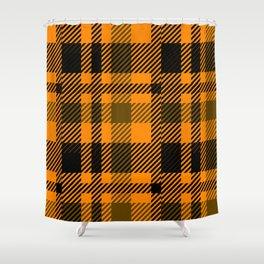 Black and orange tartan pattern Shower Curtain