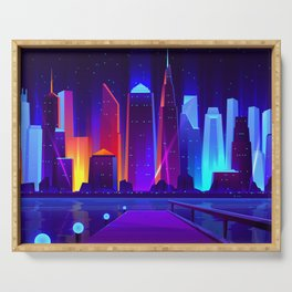 Synthwave Neon City #7 Serving Tray