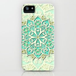 White cyan and yellow Beautiful Wedding Mandala iPhone Case