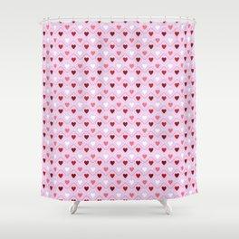 Valentines - Pink Heart Pattern Shower Curtain