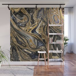 Black and Gold Liquid Marble Wall Mural
