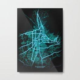 Dushanbe, Tajikistan, Blue, White, Neon, Glow, City, Map Metal Print