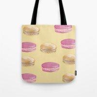 macaron Tote Bags featuring Macaron, Macaron by Malina Syvo