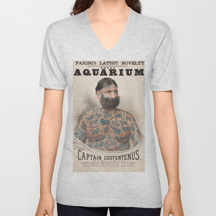 Vintage Tattoo Print of Captain Costentenus Unisex V-Neck