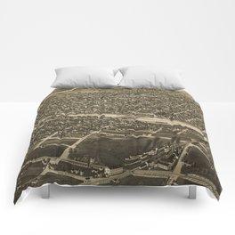 Vintage Pictorial Map of Watertown WI (1885) Comforters