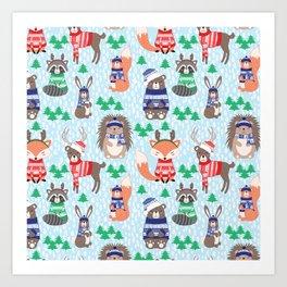 Christmas woodland Art Print