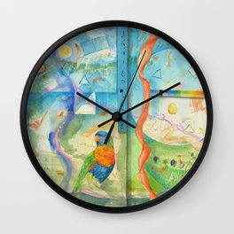 Song for Rainbow Parrot Wall Clock