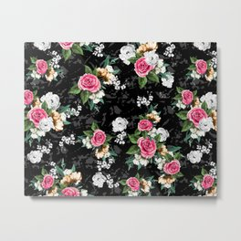 Flowers and Geometric Effects Metal Print