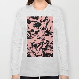 Old Rose Black Abstract Military Camouflage Long Sleeve T-shirt