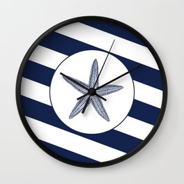 Nautical Starfish Navy Blue & White Stripes Beach Wall Clock