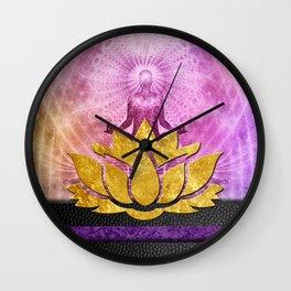 Crown Chakra Meditation & Gold Metallic Lotus Wall Clock