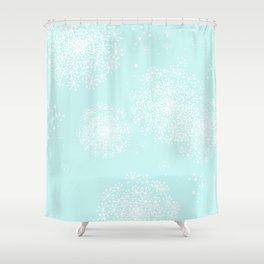 dandy snowflake aqua shower curtain