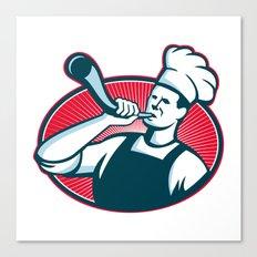 Chef Cook Baker Blowing Bullhorn Retro Canvas Print