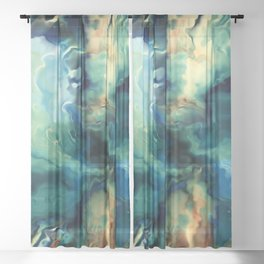 Marbled Ocean Abstract, Navy, Blue, Teal, Green Sheer Curtain