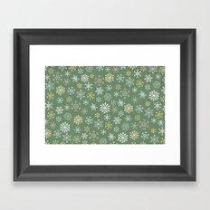 christmas snowy green Framed Art Print