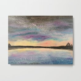 The Starry Lake, Original Watercolor Metal Print