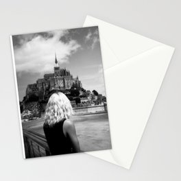 Girl Looking Upon Mont Saint-Michel in Normandy, France Stationery Cards