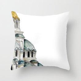 Alexander Nevsky Cathedral, Sofia, Bulgaria, watercolor Throw Pillow