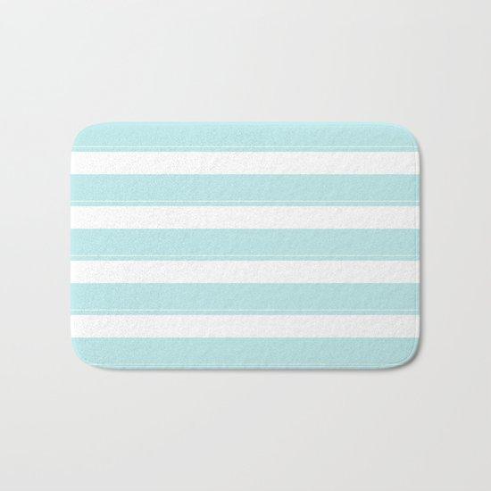 Striped 2 - turquoise stripes on white - #Society6 Bath Mat