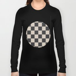 Traditional Checkerboard, Ecru-Beige and Chocolate-Deep Brown Long Sleeve T-shirt