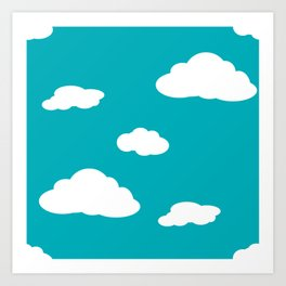 Paper Airplanes - You Can Fly - Cloud Variation - Deep Teal Art Print