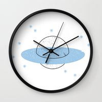 planet of the apes Wall Clocks featuring Planet by Emma Winton