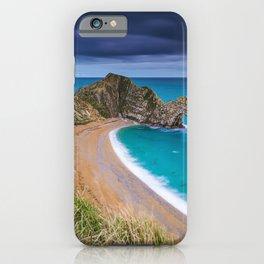 Durdle Door English Channel coast ocean cliff arch seascape Jurassic Coast Lulworth Dorset England iPhone Case