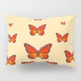 ORANGE MONARCH BUTTERFLIES CREAMY YELLOW Pillow Sham