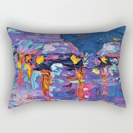 Streets of New York #3 - Palette Knife Contemporary Urban City Landscape by Adriana Dziuba Rectangular Pillow