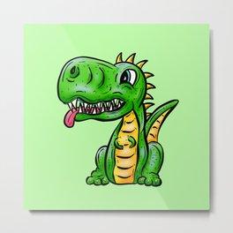Dino Time! Little Green Dinosaur Metal Print