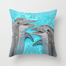 Dolphin Chatter Throw Pillow