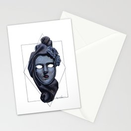 Female Venetian Mask | Watercolor and Colored Pencil  Stationery Cards