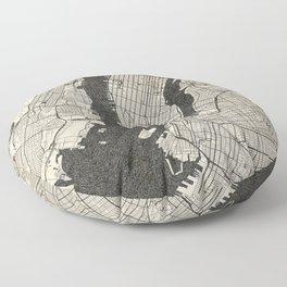 New York - Ink lines Floor Pillow