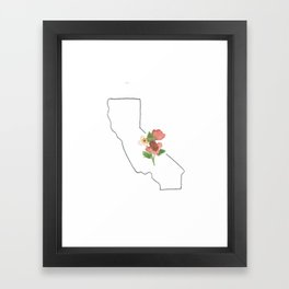 california // watercolor california poppy state flower map Framed Art Print