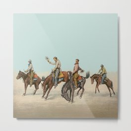 Cowboys On Bucking Horses Metal Print