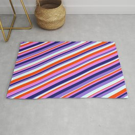 Colorful Red, Violet, Midnight Blue, Purple, and Light Cyan Colored Lined Pattern Rug
