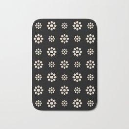 Dark Stylized Floral Pattern Bath Mat