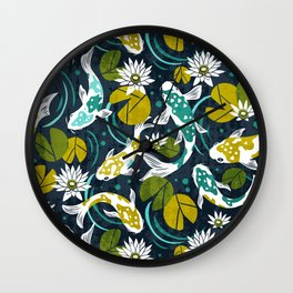 Koi Pond - Green Wall Clock