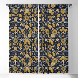 Navy Blue, Turquoise, Cream & Mustard Yellow Dark Floral Pattern Blackout Curtain